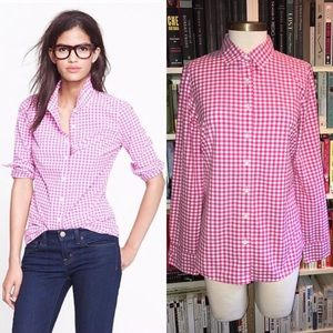 J Crew Pink Gingham Perfect Button Down Shirt